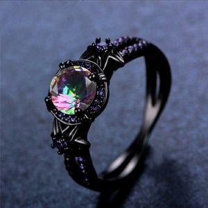 10K Black Gold Rainbow Mystic Topaz Flower Ring